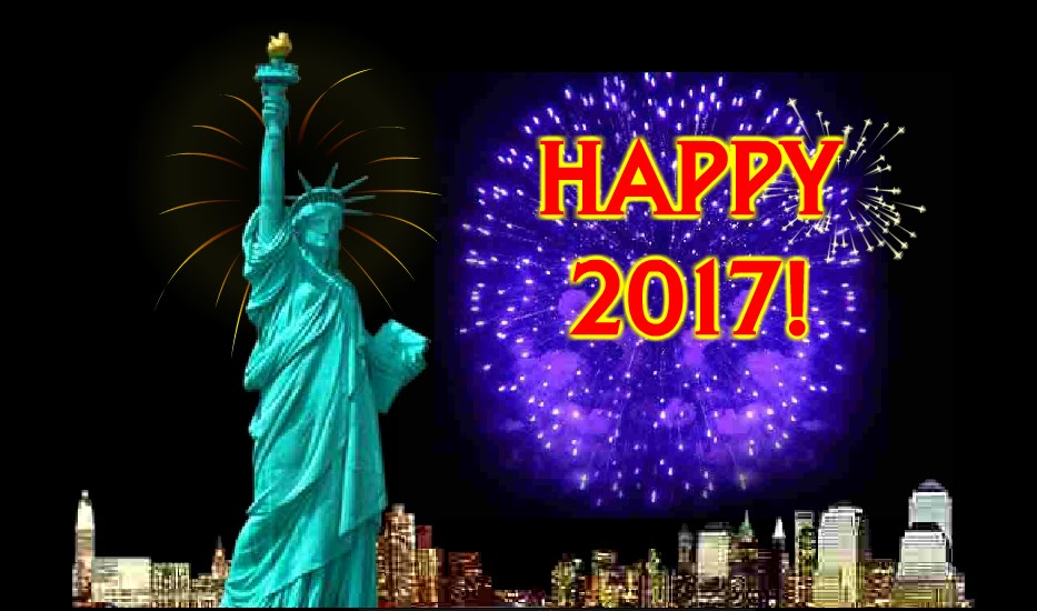 Funny New Year USA American Card 2017 neon