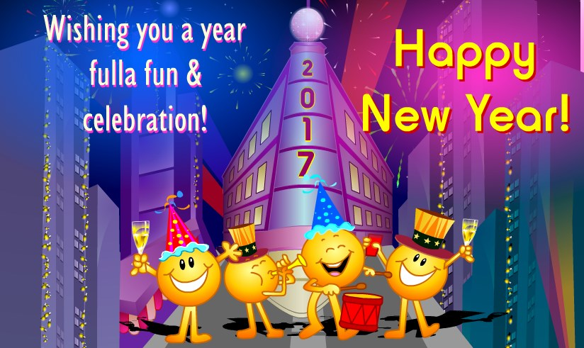 New year 2017 Greeting ecards for kids funny
