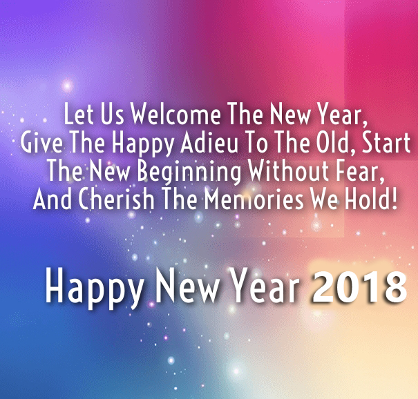 Welcome New Year 2018 Wishes Messages Colorful