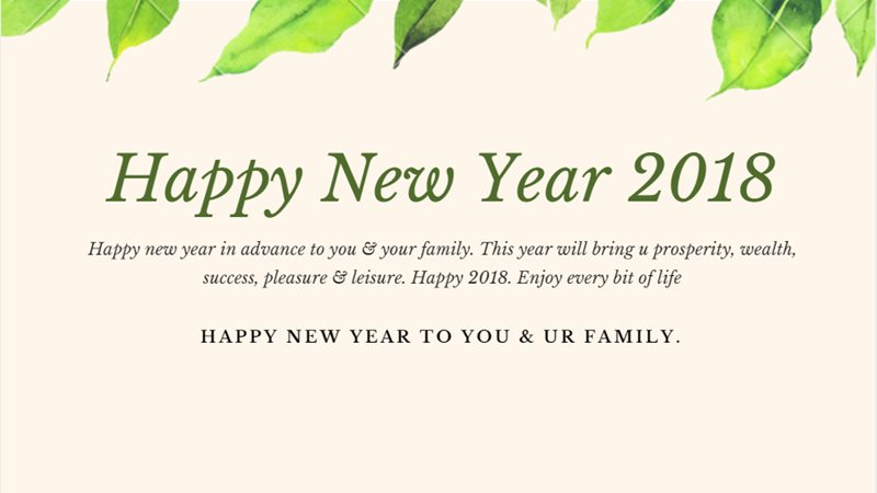 Happy New Year 2018 In Advance To You And Your Family