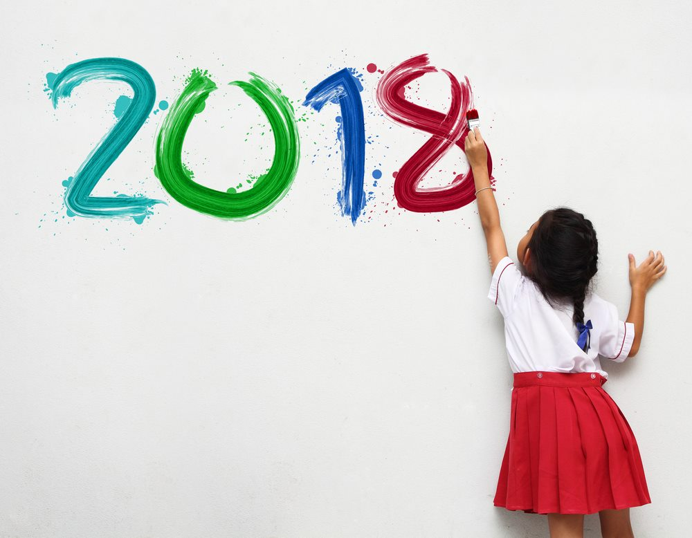 Small Baby Greeting New Year 2018 Colorful Image