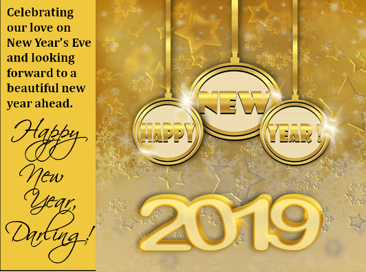 cute new year 2019 greeting card romantic