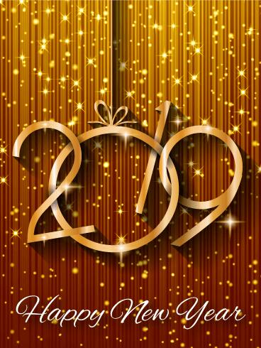 new year 2019 ecard hd gold