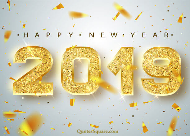 3d gold happy new year 2019 background